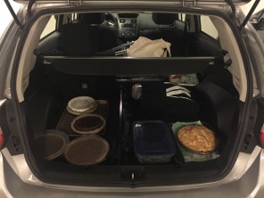 Five pies, four pounds of green beans, a tray full of cheese and crackers, and a backseat full of folding chairs? Good thing I have a hatchback!